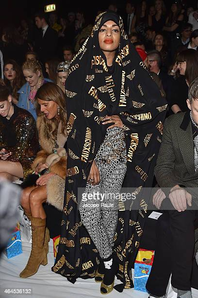 A attends the Moschino show during the Milan Fashion Week Autumn/Winter 2015 on February 26 2015 in Milan Italy