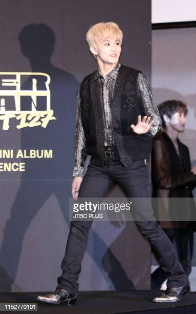 NCT 127 attends the press conference for 4th mini album WE ARE SUPERHUMAN at the Conrad Hotel on May 24 2019 in Seoul South Korea