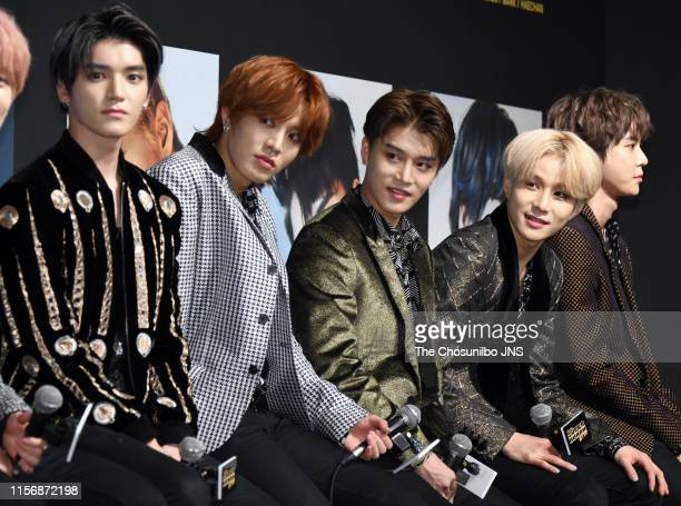 """Attends the press conference for 4th mini album """"WE ARE SUPERHUMAN"""" at Conrad Hotel on May 24, 2019 in Seoul, South Korea."""