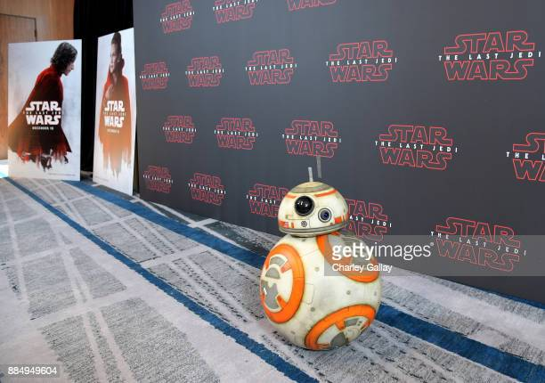 BB8 attends the press conference for the highly anticipated Star Wars The Last Jedi at InterContinental Los Angeles on December 3 2017 in Los Angeles...