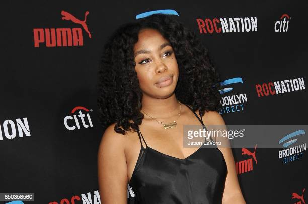 SZA attends the Roc Nation Grammy brunch on February 7 2015 in Beverly Hills California