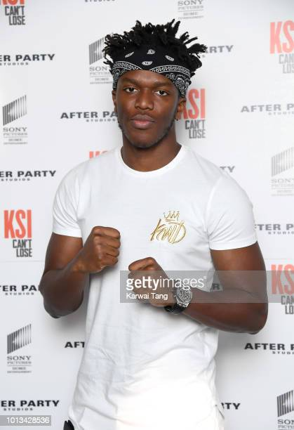 Attends the World Premiere of 'KSI: Can't Lose' documentary at Picturehouse Central on August 8, 2018 in London, England.