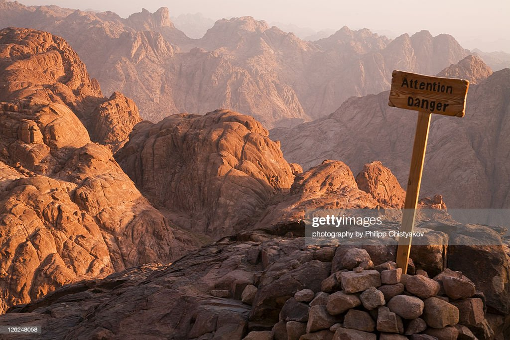 'Attention Danger' placed on Mount Sinai : Stock Photo