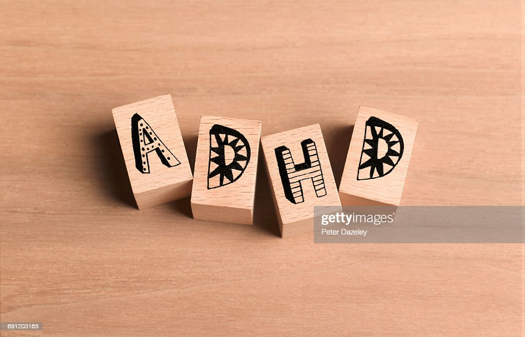 Attention deficit hyperactivity disorder bricks : Stock Photo