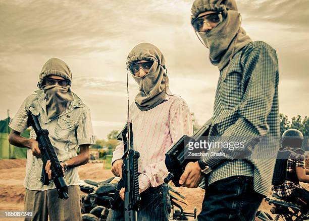Attention: these are not real terrorist though, just a bunch of kids ready to play paint ball... :)