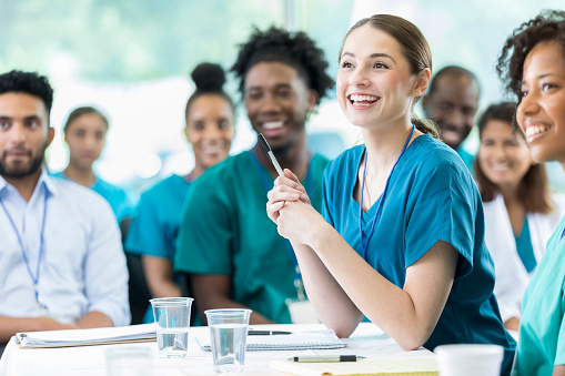 Attentive nursing students in class 855597368