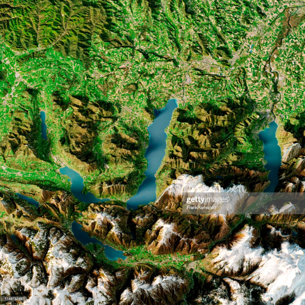 Attersee Austria 3D Render Topographic Map Summer Top View : Stock Photo