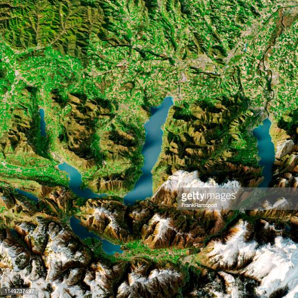 Attersee Austria 3D-Render Topographic Map Summer Top View