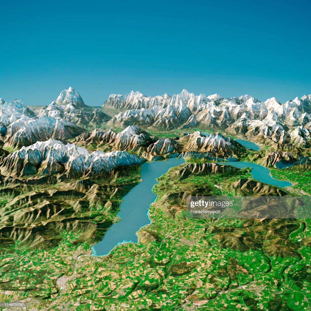 Attersee Austria 3D-Render Topographic Map Sommeransicht von Norden : Stock-Foto