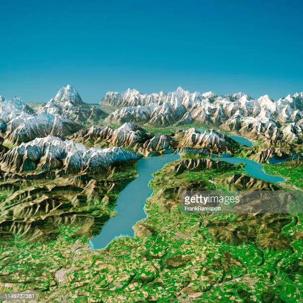 attersee austria 3d render topographic map summer view from north - frank ramspott stock pictures, royalty-free photos & images