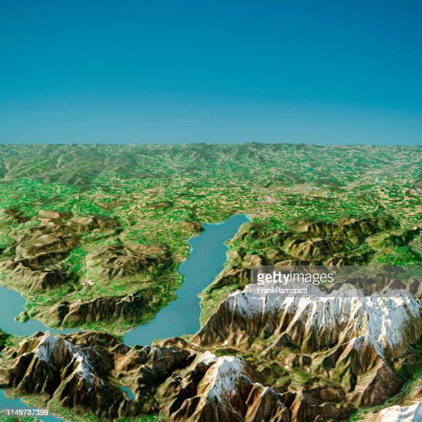 attersee austria 3d render topographic map summer view from south - frank ramspott stock pictures, royalty-free photos & images