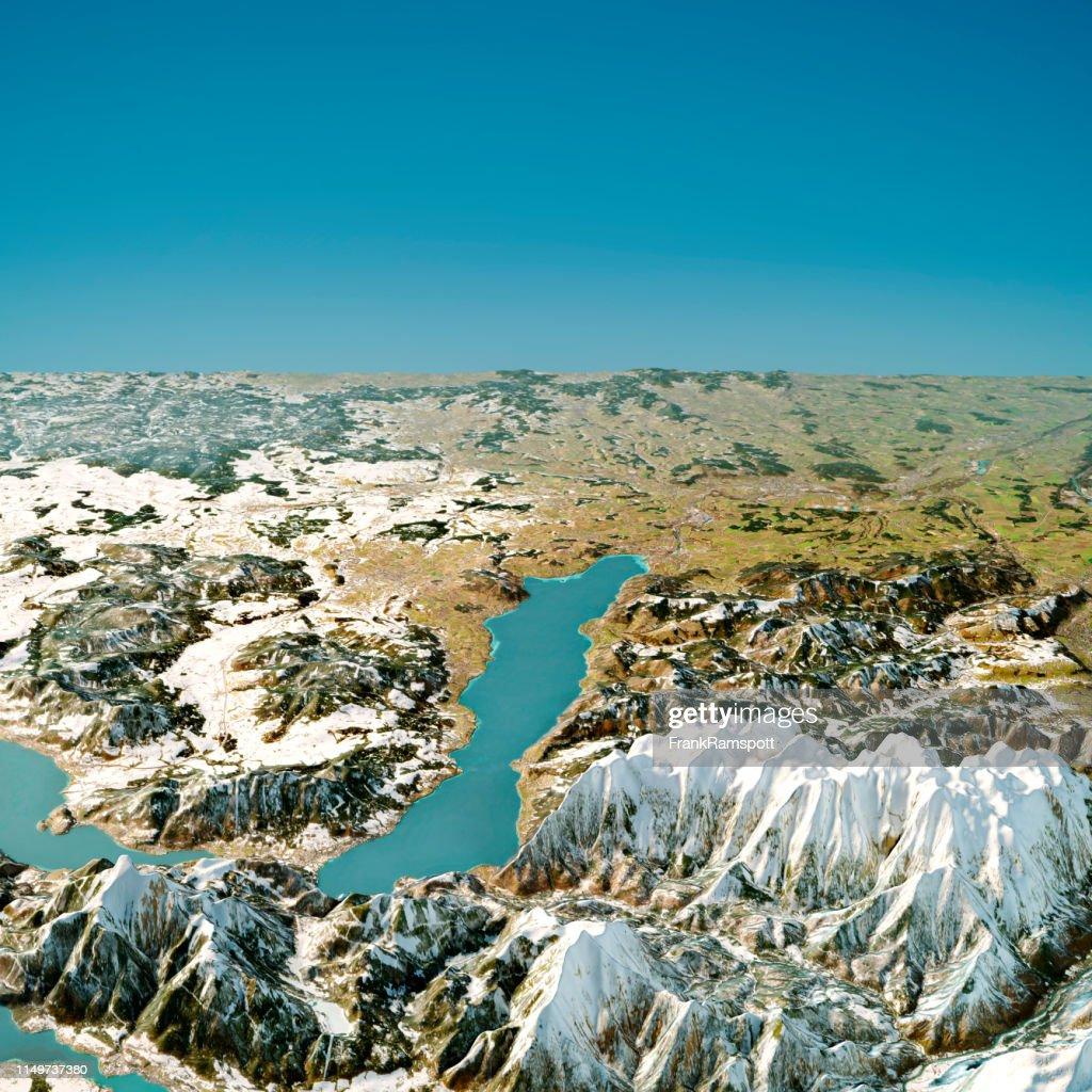 Attersee Austria 3D-Render Topographische Karte Winteransicht von Süden : Stock-Foto