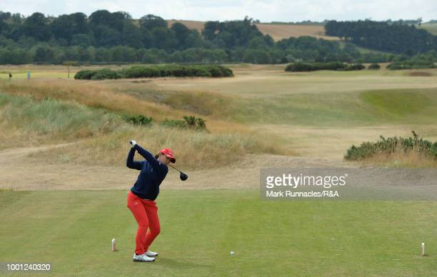 Atthaya Thitikul of Japan plays her tee shot to the 6th hole during the final day of the The Junior Open Championship at Eden Golf Course on July 18,...