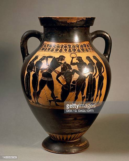 Attic amphora representing Theseus and the minotaur blackfigure pottery Greece Detail Greek Civilization 6th Century BC Roma Museo Capitolino
