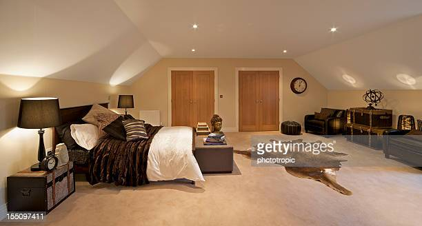 attic bedroom - loft stock photos and pictures