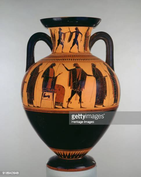 Attic blackfigure neck amphora c540 BC Athenian blackfigure amphora on both sides Zeus enthroned with Hermes and four male bystanders and three men...