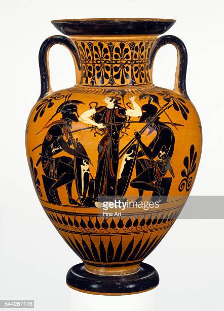 Attic BlackFigure Neck Amphora with Achilles and Ajax Gaming before Athena attributed to the Leagros Group c 510 BC terracotta made in Athens 453 to...