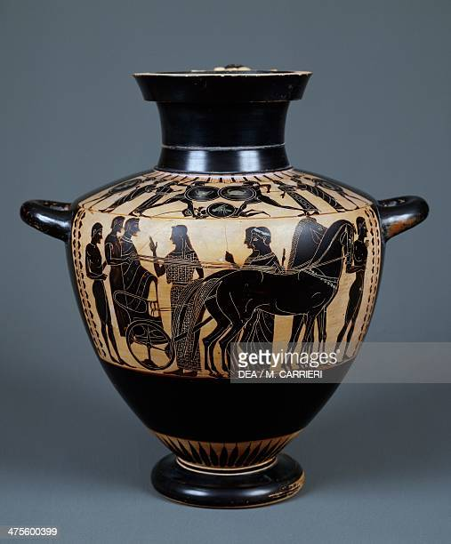 Attic blackfigure water jar depicting The Marriage of Peleus and Thetis Greek civilisation 6th century BC Milan Civiche Raccolte Archeologiche E...