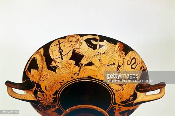Attic cup known as Iliupersis representation of the Sack of Troy ca 480 BC by Brigo redfigure pottery 13x42 cm diameter 33 cm from Vulci Lazio Italy...