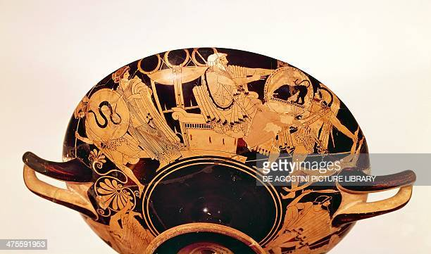 Attic cup known as the Iliupersis depicting the sacking of Troy 480 BC by Brigo redfigure pottery 13x42 cm diameter 33 cm from Vulci Lazio Italy...