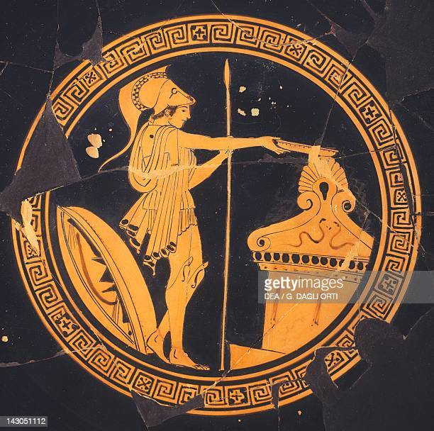 Attic cup redfigure pottery Greece Detail showing an armed efebos Greek Civilization 5th Century BC Athens Agora Museum