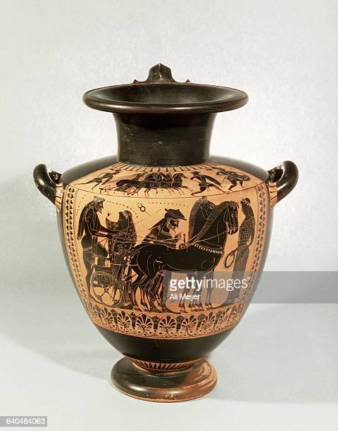 Attic Greek Hydria with Chariot Scene