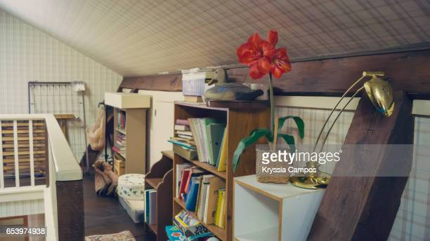 Attic in old american house, retro style