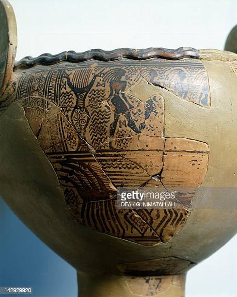 Attic krater fragment geometricstyle pottery from Piraeus Greece Greek Civilization 8th Century BC Athens Ethnikó Arheologikó Moussío