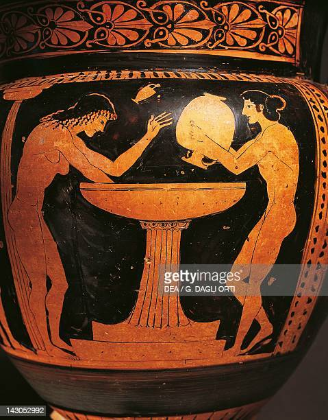 Attic krater representing some women in the bathroom, red-figure pottery, Italy. Detail. Ancient Greek civilization, Magna Graecia, 5th Century BC....
