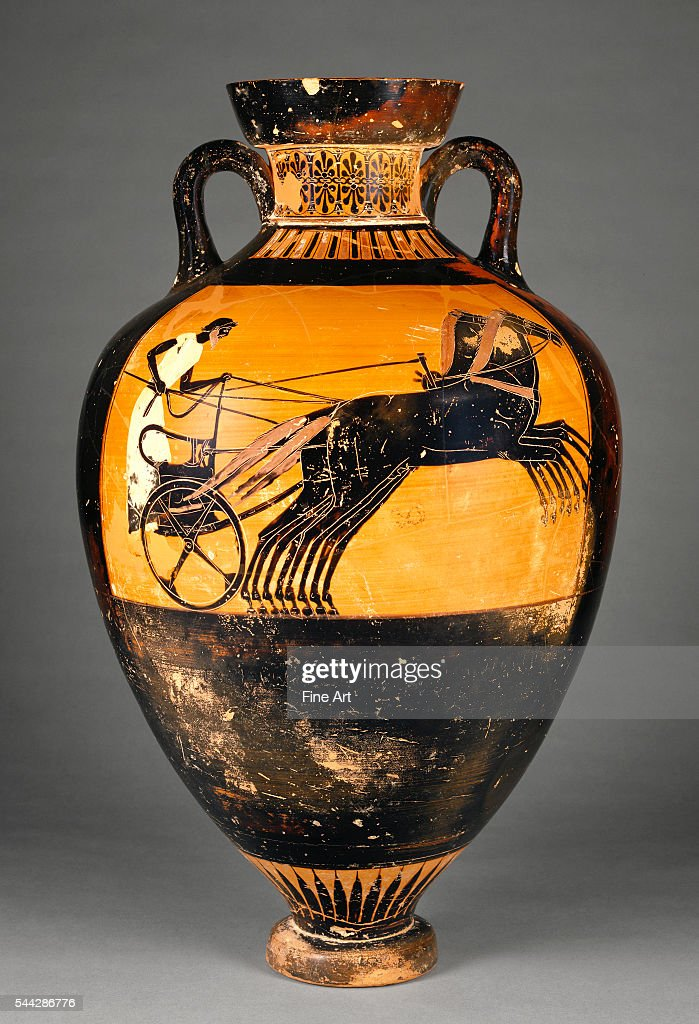 Attic Panathenaic Black-Figure Amphora with a Chariot and Rider by the Kleophrades Painter & Attic Panathenaic Black-Figure Amphora with a Chariot and Rider ...
