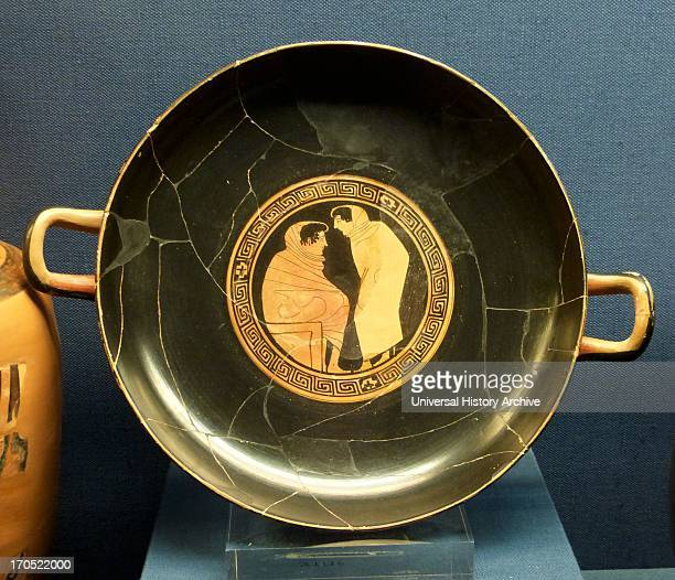 Attic redfigure kylix decorated inside with a scene of conversation between two male figures Attributed to the Painter of Brussels Circle of the...