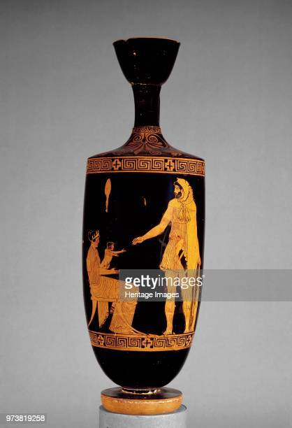 Attic redfigure lekythos with image of Heracles Dianeira and Hyllos 5th century BC Dimension height 422 cm diameter 139 cmArtist Villa Giulia Painter