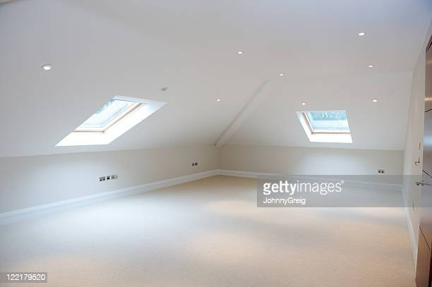 attic room - eaves stock photos and pictures