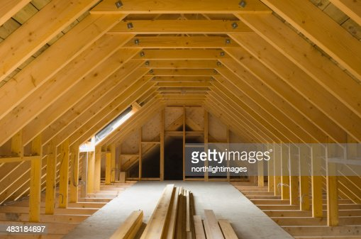 Attic Space In Newlybuilt House Stock Photo Getty Images