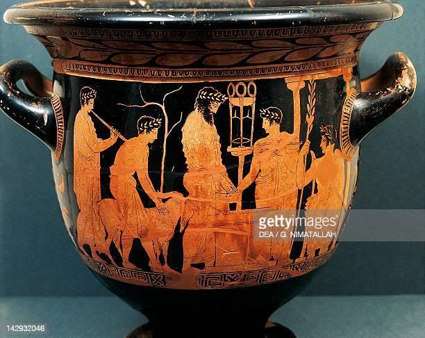Attic vase depicting a scene of sacrifice to Apollo redfigure pottery Greek Civilization 5th Century BC