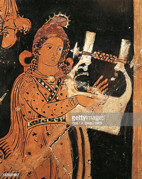 Attic vase depicting Apollo Citharoedus, red-figure pottery, Italy. Detail. Ancient Greek civilization, Magna Graecia, 4th Century BC. Naples, Museo...