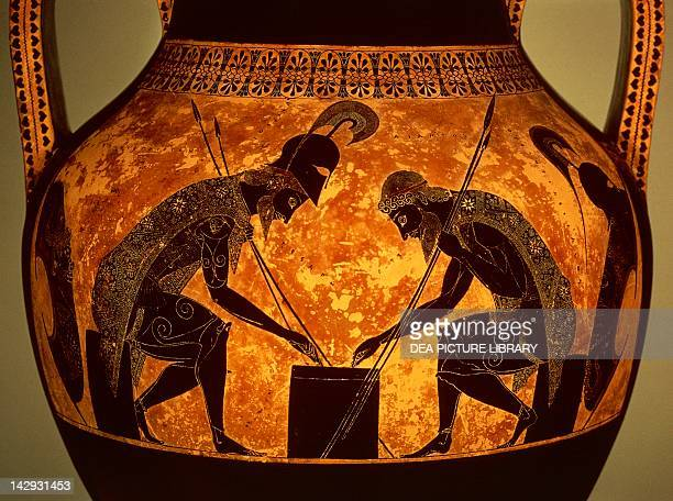 Attic vase showing a scene with Achilles and Ajax playing dice by Exechias blackfigure pottery Detail Greek Civilization 6th Century BC Città Del...