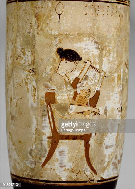 Attic whiteground lekythos with image of women musicians 5th century BC Redfigure lekythos depiction of women musicians attributed to the Achilles...