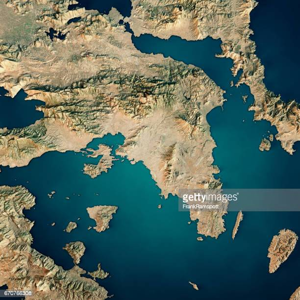 Attica Greece 3D Render Satellite View Topographic Map