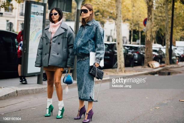 Attico designers Gilda Ambrosio Giorgia Tordini before the Miu Miu show during Paris Fashion Week Spring/Summer 2019 on October 2 2018 in Paris...