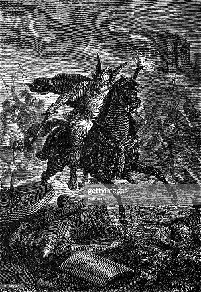 Engraving of Attila the Hun on Horseback Burning Townships Throughout Italy : News Photo