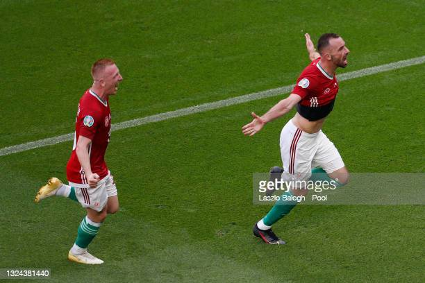 Attila Fiola of Hungary celebrates after scoring their side's first goal during the UEFA Euro 2020 Championship Group F match between Hungary and...