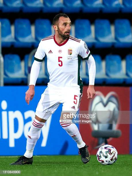 Attila Fiola of Hungary controls the ball during the FIFA World Cup 2022 Qatar qualifying Group I match between Andorra and Hungary on March 31, at...