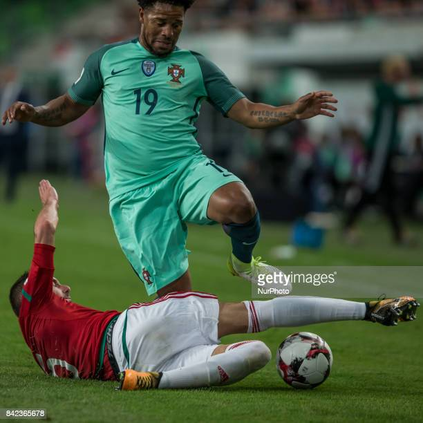 Attila Fiola of Hungary in action with Eliseu of Portugal during the World Cup qualification match between Hungary and Portugal at Groupama Arena on...