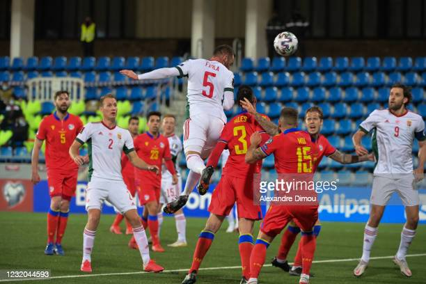 Attila FIOLA of Hungary scores the first goal during the World Cup Qualifying 2022 match between Andorra and Hungary at Estadi Nacional on March 31,...