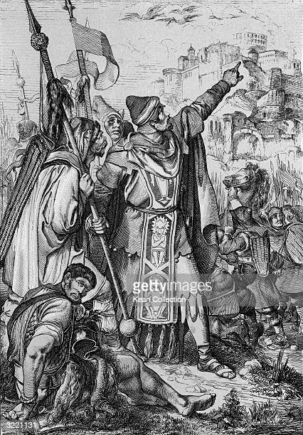 Attila king of the Huns points at stocks leaving the city of Aquileja and predicts that it is a sure sign of a Hun victory 452