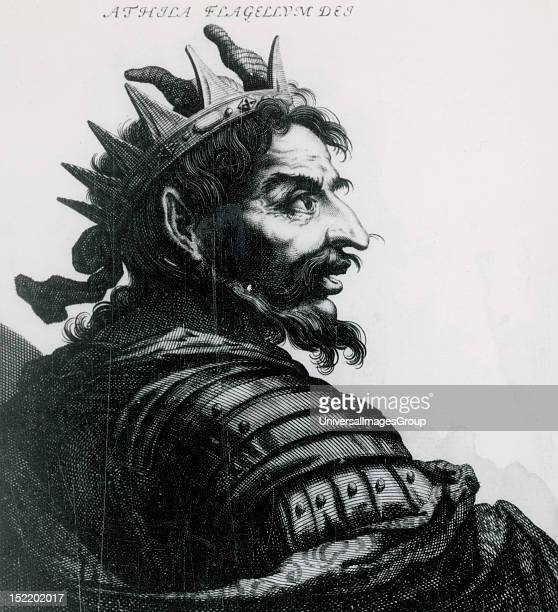 Attila Ruler of the Huns Portrait Engraving
