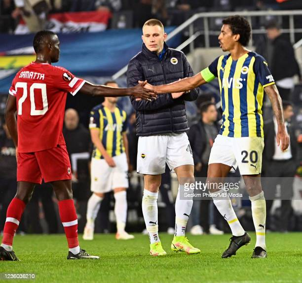 Attila Szalai and Luiz Gustavo of Fenerbahce and Mbwana Samatta of Antwerp FC during the UEFA Europa League group D match between Fenerbahce and...