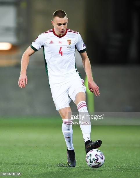 Attila Szalai of Hungary runs with the ball during the FIFA World Cup 2022 Qatar qualifying match between Andorra and Hungary at Estadi Nacional on...