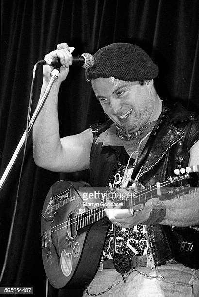 Attila The Stockbroker performs on stage Comedy Tent Glastonbury Festival United Kingdom 1990